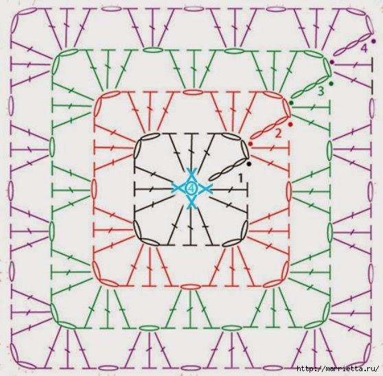Бабушкин квадрат - мотивы для вязания пледов, подушек и покрывал (1) (558x548, 191Kb)