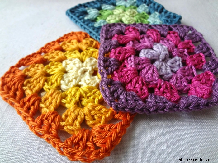 Бабушкин квадрат - мотивы для вязания пледов, подушек и покрывал (3) (700x525, 343Kb)