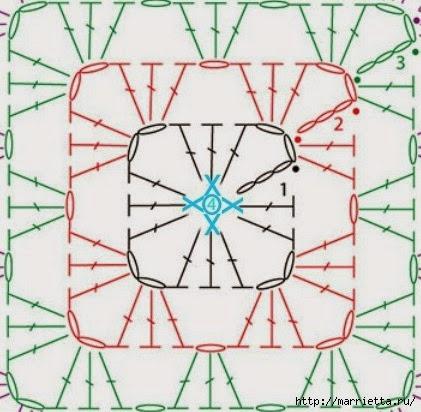 Бабушкин квадрат - мотивы для вязания пледов, подушек и покрывал (9) (421x412, 119Kb)