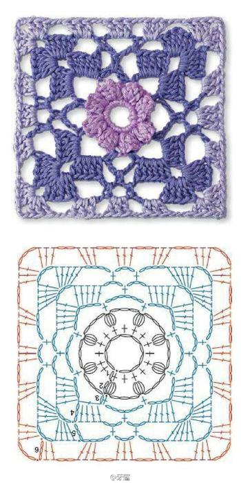 Схемы мотивов для вязания пледов, подушек и покрывал (16) (350x700, 277Kb)
