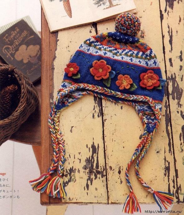 Теплая шапочка с орнаментом и цветочками крючком (4) (591x689, 395Kb)