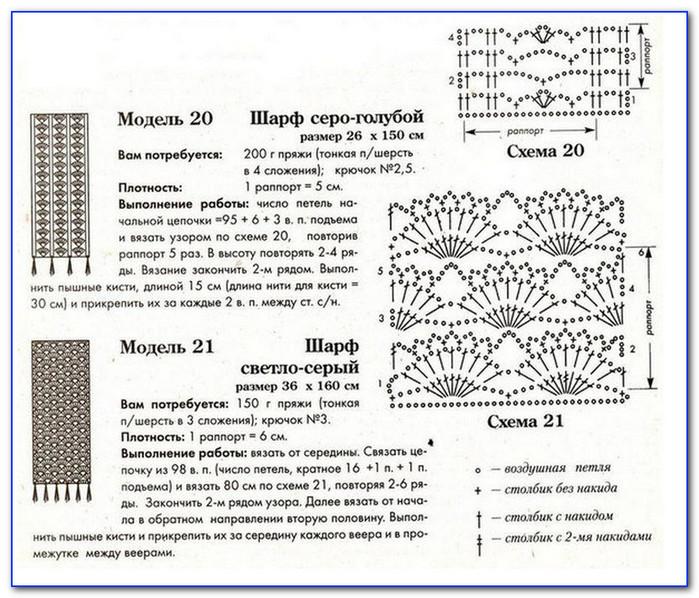 Шарфы узоры схемы вязание