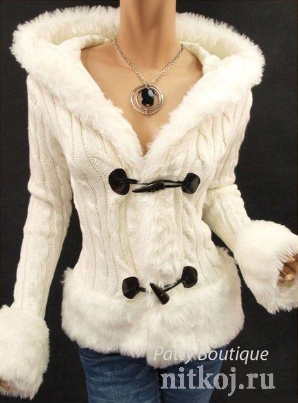 Куртка спицами с капюшоном »