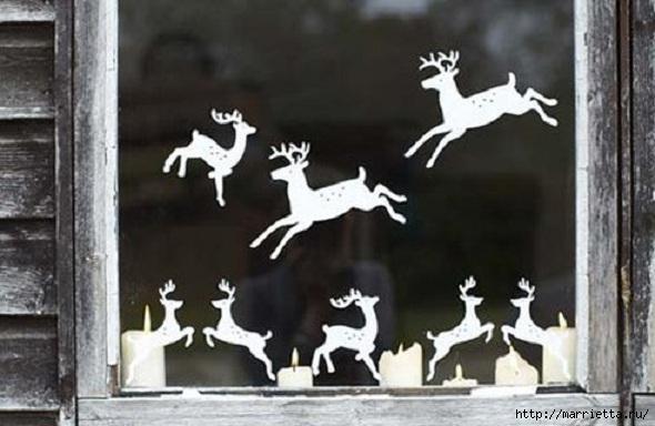 Рождественские олени - вырезалки из бумаги (1) (590x384, 125Kb)