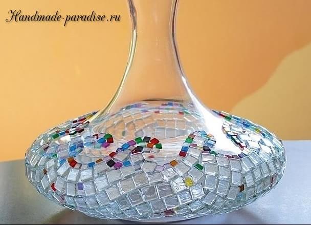 Декор стеклянной вазы своими руками фото