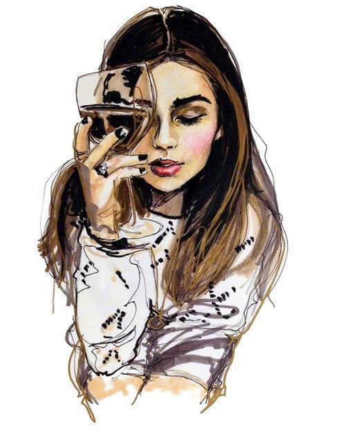 Девушка с бокалом вина (500x632, 49Kb)