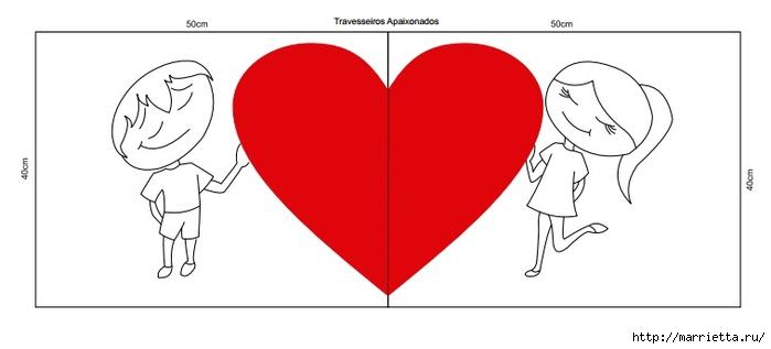 Подушки для влюбленных. Шитье с аппликацией (3) (700x317, 65Kb)