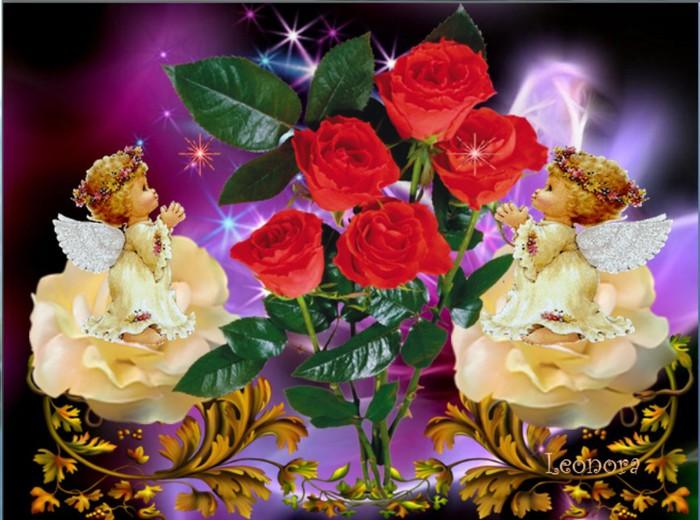 Angeliukai prie roziu (700x520, 104Kb)