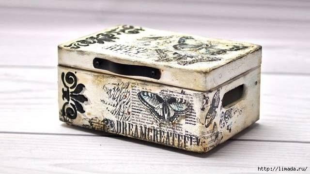 Деревянный ящик декупаж фото