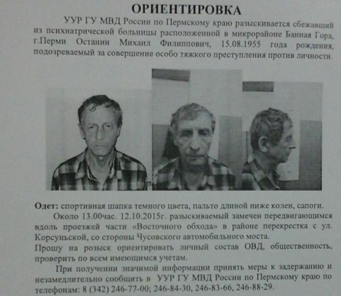 СМИ: Сбежавший из психбольницы расчленил любовницу и разбросал останки по Перми
