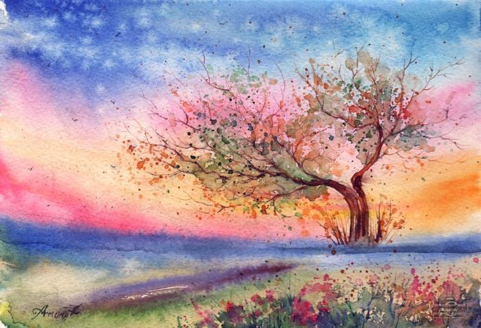 alt=Акварельные пейзажи Анны Клементьевой, пишущей под псевдонимом Anna Armona/2835299__1_ (700x476, 310Kb)