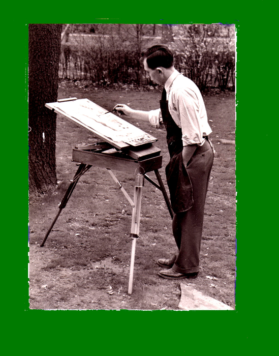 Q 736  Plein-air painting demonstration 1952 (549x700, 356Kb)