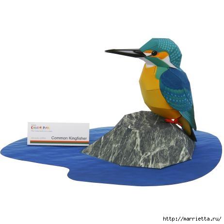 Птица из бумаги. Обыкновенный зимородок (2) (462x462, 50Kb)