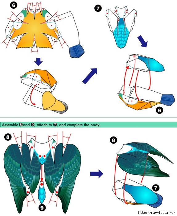 Птица из бумаги. Обыкновенный зимородок (2) (574x700, 237Kb)