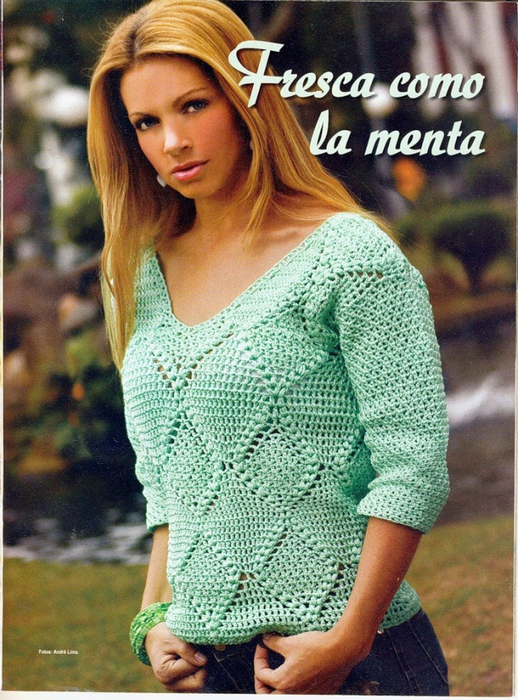 Вяжем крючком пуловер
