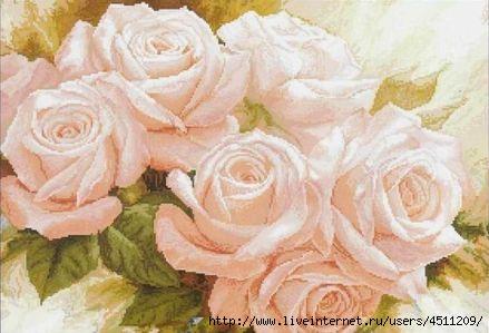 Чайные розы. Вышивка крестом.