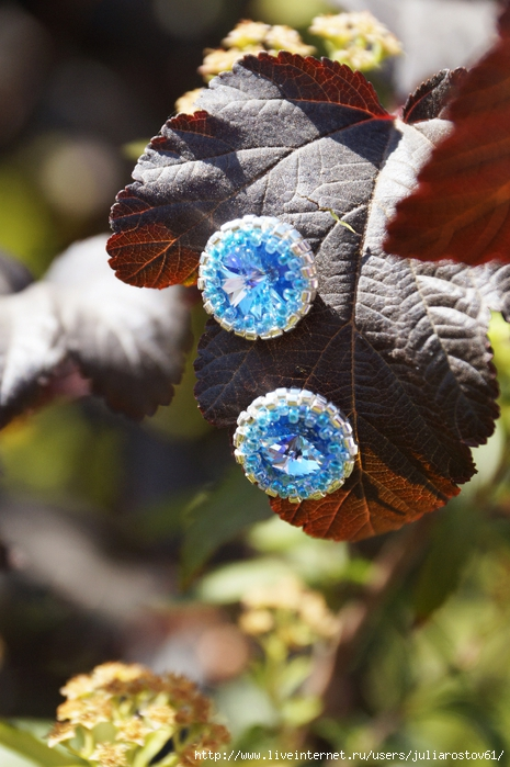 серьги-гвоздики с голубыми сваровски (465x700, 264Kb)