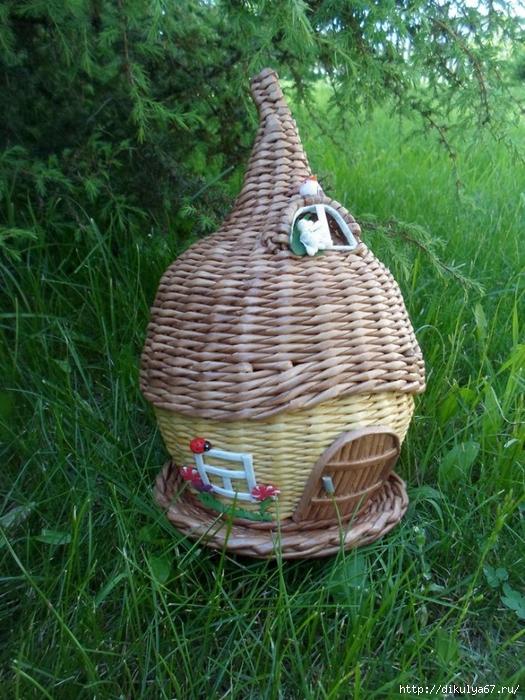 Плетеный домик для птиц своими руками 33