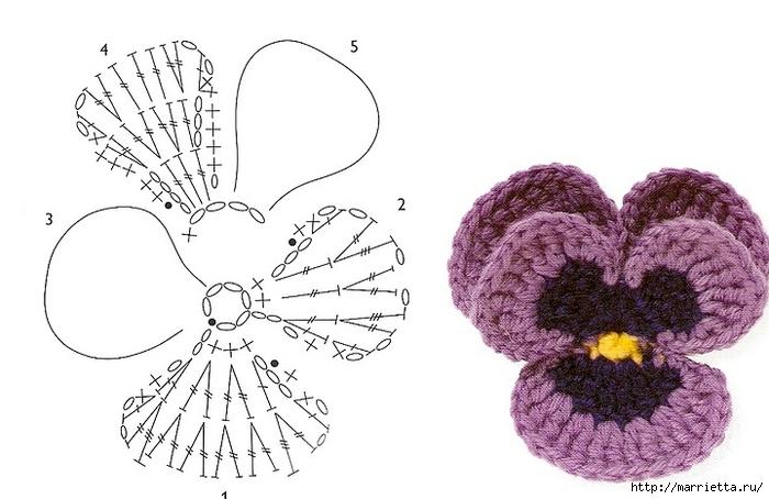 Вязание крючком. Салфетки с анютиными глазками (18) (700x454, 170Kb)