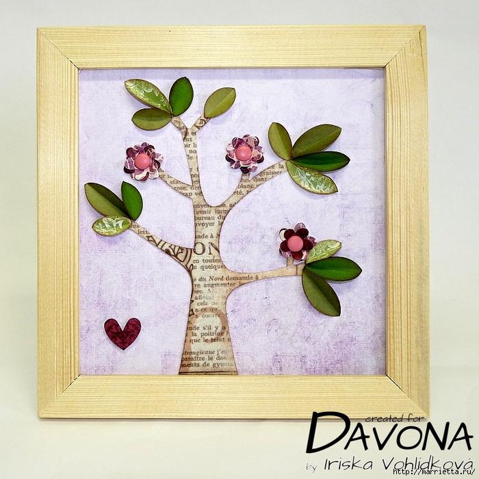 Декоративная рамка с цветущим деревом (5) (700x700, 388Kb)