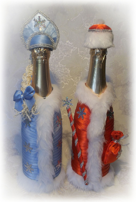 Снегурочка из бутылки шампанского своими руками