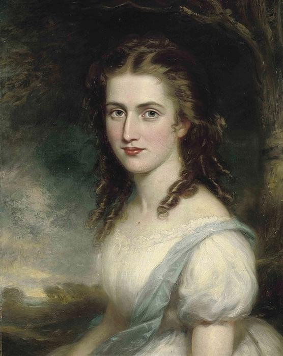 ПОРТРЕТ Элеоноры Метуэн (в девичестве Харфорд), в белом платье (556x700, 355Kb)