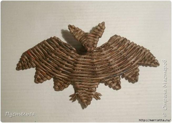Летучая мышь. Плетение из газет от Пустельги (2) (654x470, 111Kb)