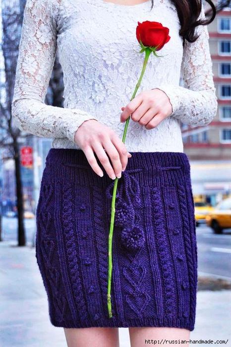 Вязание спицами. Теплая короткая юбочка с сердечками (12) (466x700, 291Kb)