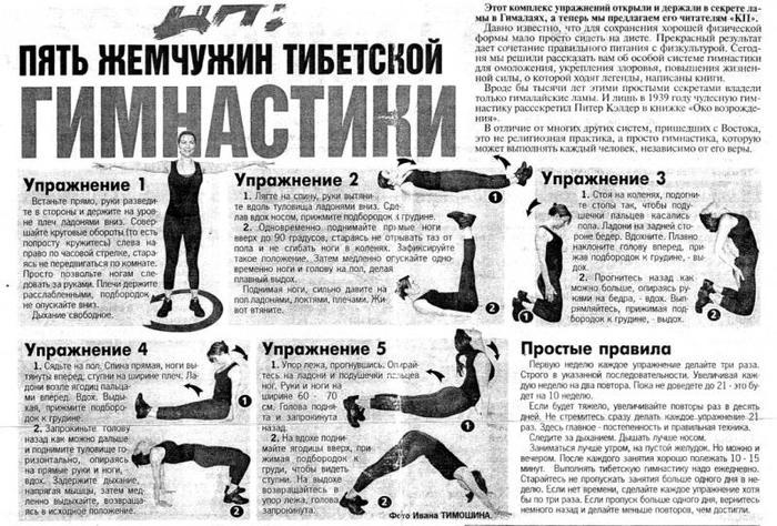 Тибетская гимнастика с упражнений