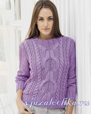 Схема вязания пуловера с косами
