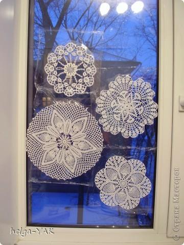 Вязание украшение на окно