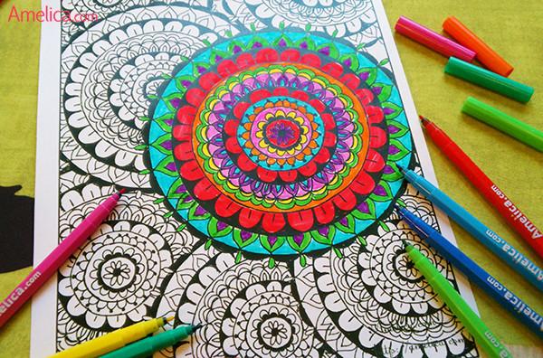 Как разрисовать раскраску антистресс