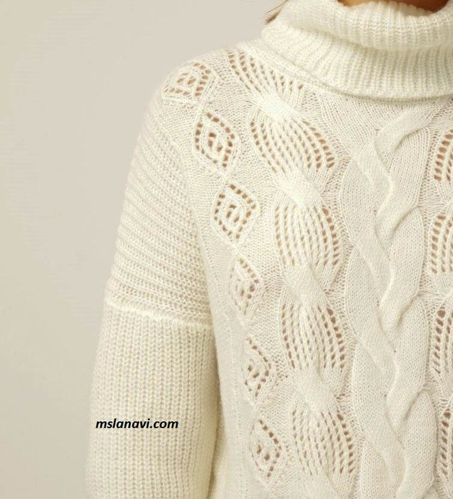 Белый-свитер-спицами-детали (635x700, 361Kb)