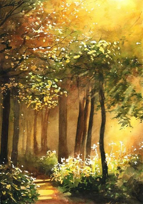 Акварельная природа: душевные пейзажи от талантливой польской художницы