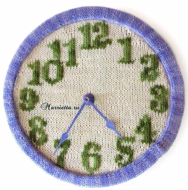 Вязание спицами круглых часов с циферблатом. Схема (1) (629x636, 429Kb)