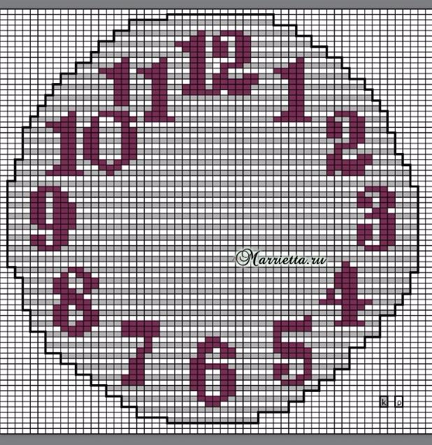 Вязание спицами круглых часов с циферблатом. Схема (3) (618x637, 539Kb)