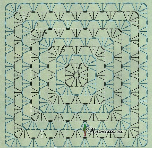 Две подушки крючком. Схемы вязания (6) (525x510, 386Kb)