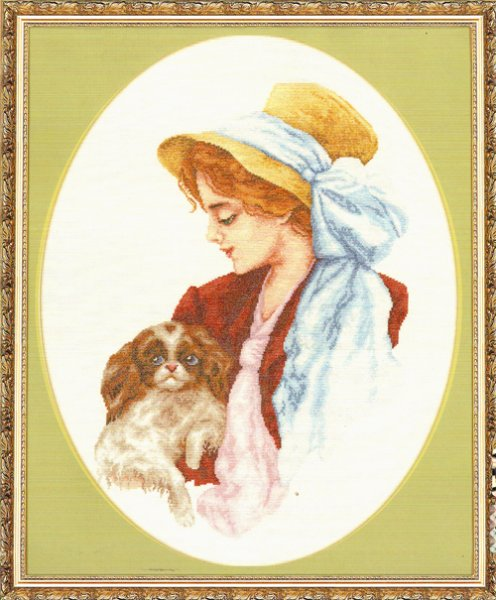 """Схема вышивки крестом  """"Дама с собачкой """" ."""