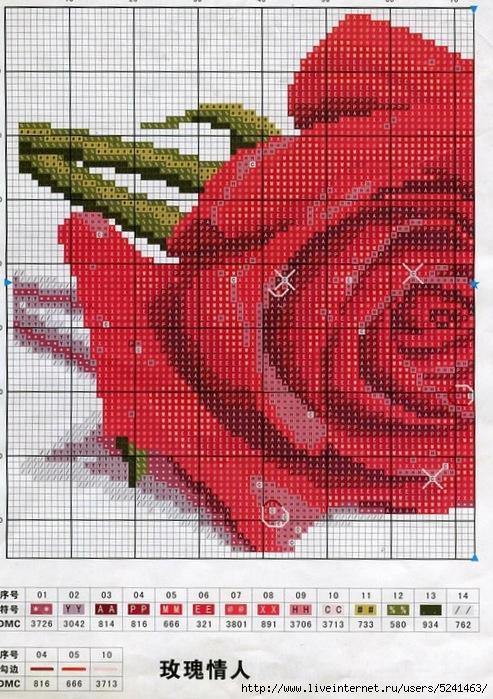 Схемы вышивки розы в росе