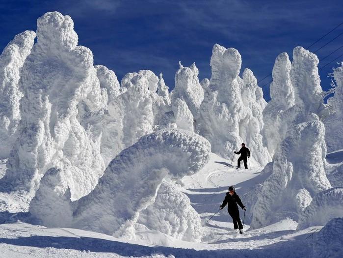 В снегу дзао префектура мияги япония