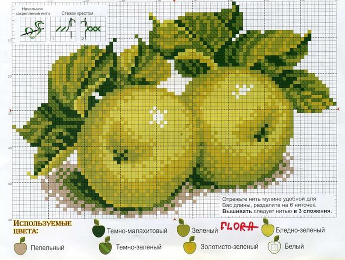 """Вышивка.  Набор для вышивания  """"Яблоки """".  В набор входит: канва, цветная схема вышивки, нитки мулине (7 цветов)."""