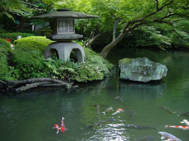 Любой японский сад символизирует устройство Вселенной.  Детали оформления японского сада: вода, камни, цветы, деревья...