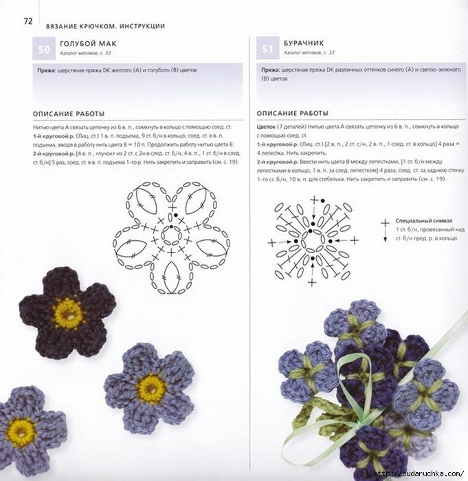 Аппликация из вязаных цветов крючком со схемами