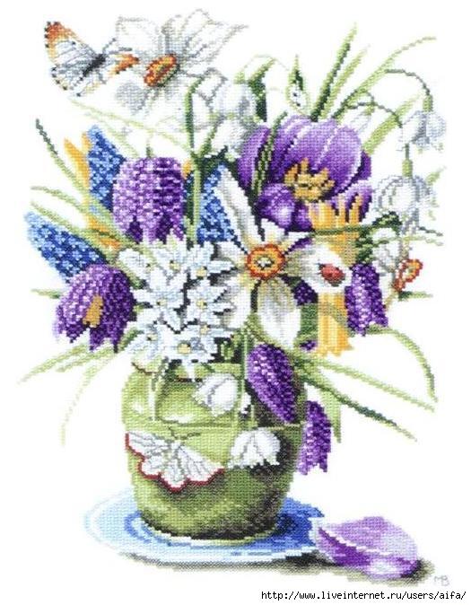 Цветы летние Вышивка крестом схемы.