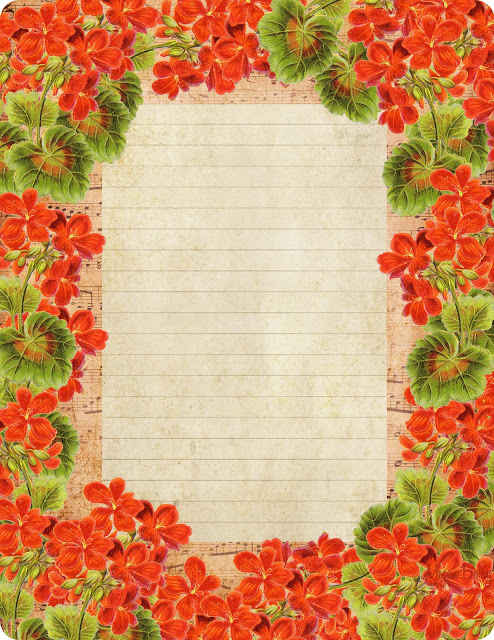 French sheet music lined paper ~ Grandma Hazel's Geraniums (494x640, 179Kb)