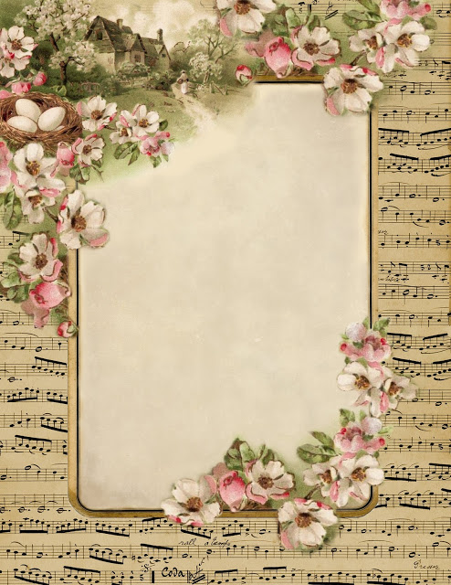 french sheet music spring cottage stationary 1 (494x640, 129Kb)