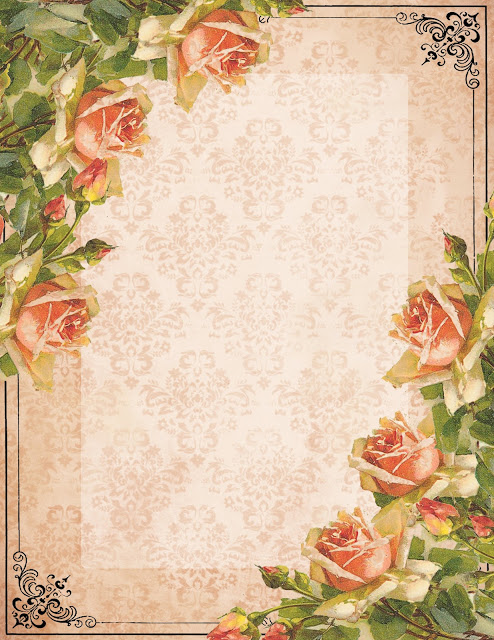 Stationery ~ Victorian peach roses (494x640, 136Kb)