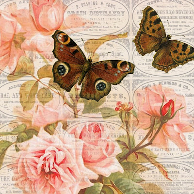 Pennsylvania advertisements pink roses brown butterflies 4x4 (400x400, 87Kb)