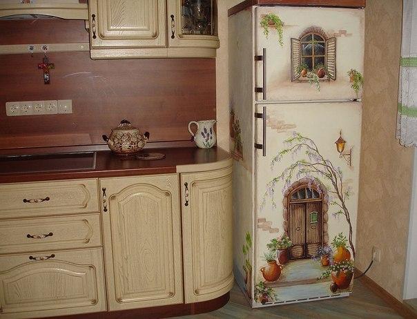 Декупаж холодильника своими руками фото