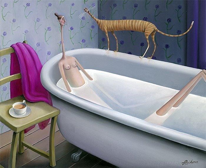 Толстая в ванной